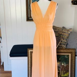 Vintage Peach Nylon Nightgown With Lace
